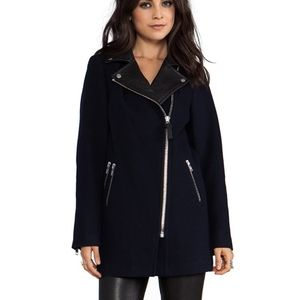 Mackage phylis flat wool leather coat navy Small
